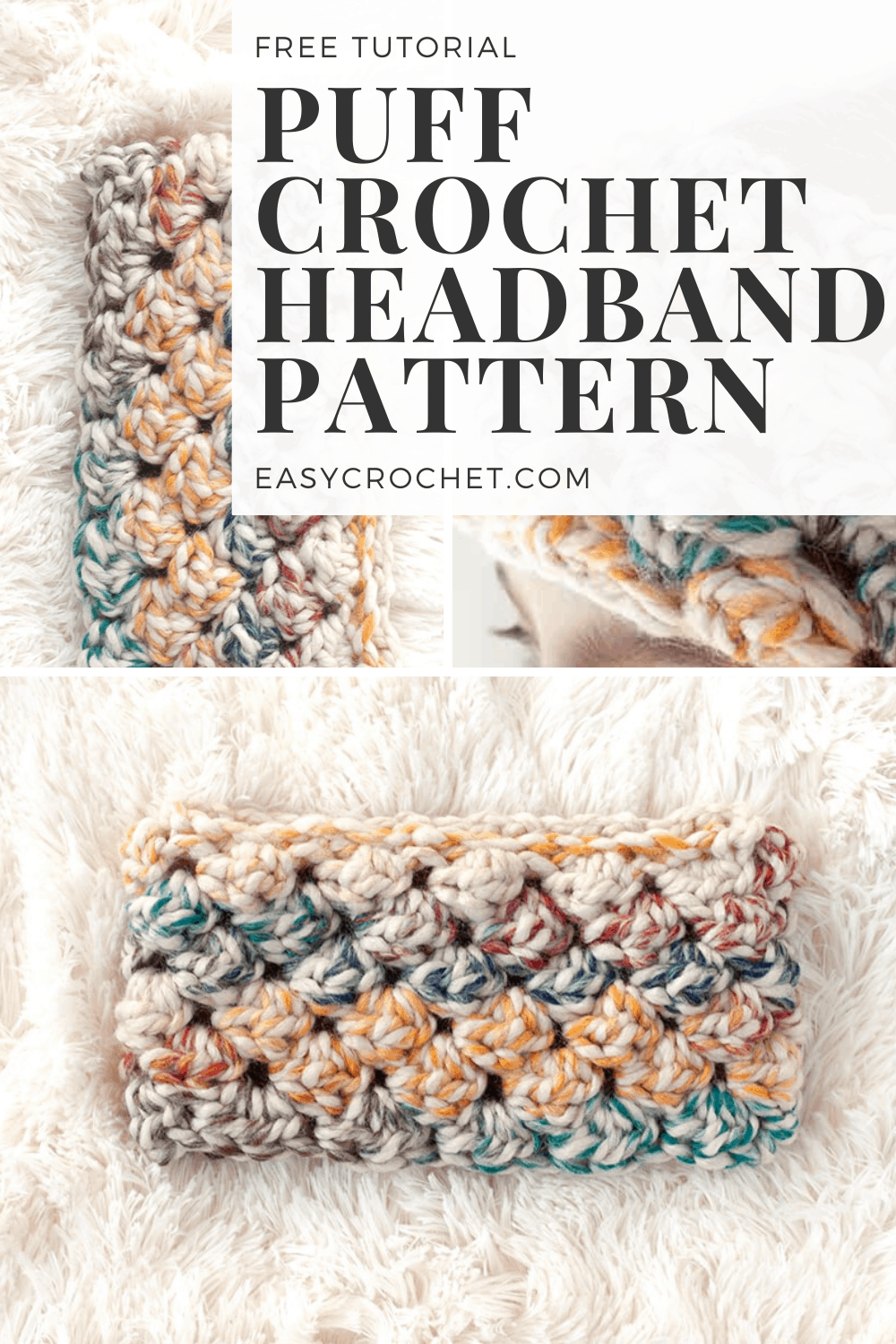 puff stitch crochet headband pattern free