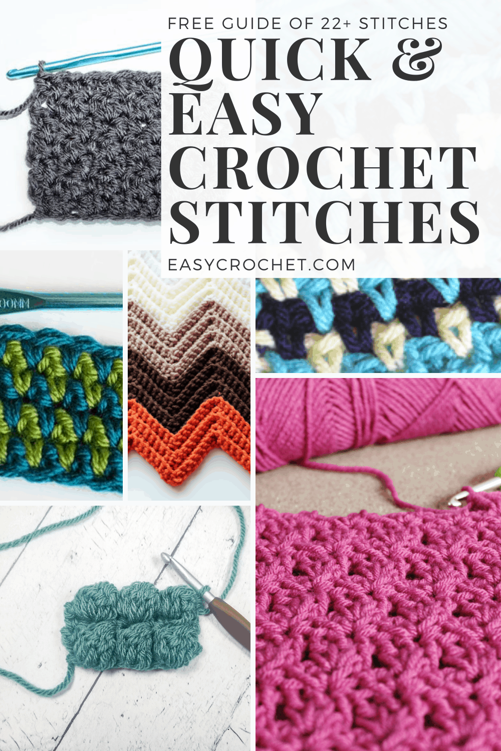 22+ Crochet Stitches that are Great for Beginners to Learn! Learn this simple crochet stitches from Easy Crochet. via @easycrochetcom