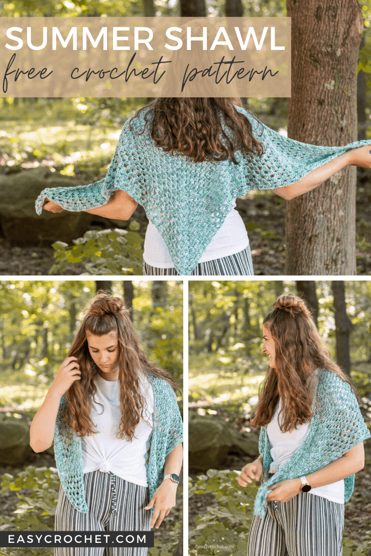 Summer Crochet Shawl Pattern - Lightweight Wrap pattern that is perfect for a cool Summer Evening via @easycrochetcom