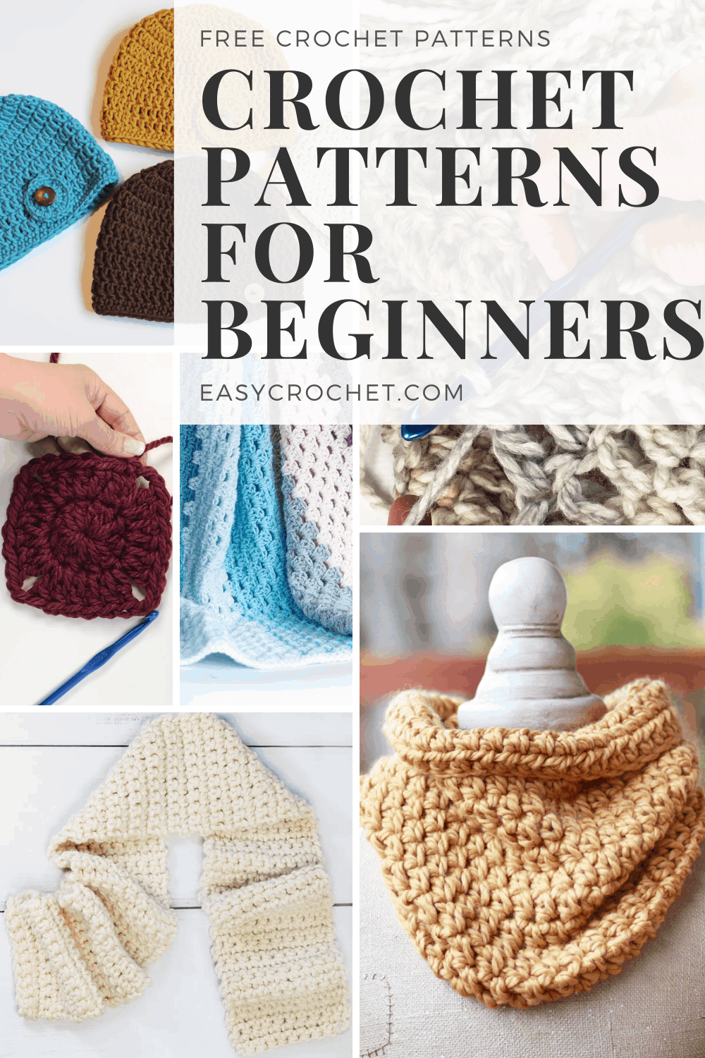 12 simple Crochet Patterns that are perfect for beginners! Once you have your crochet and hook explore these free crochet patterns to start making a project today! via @easycrochetcom