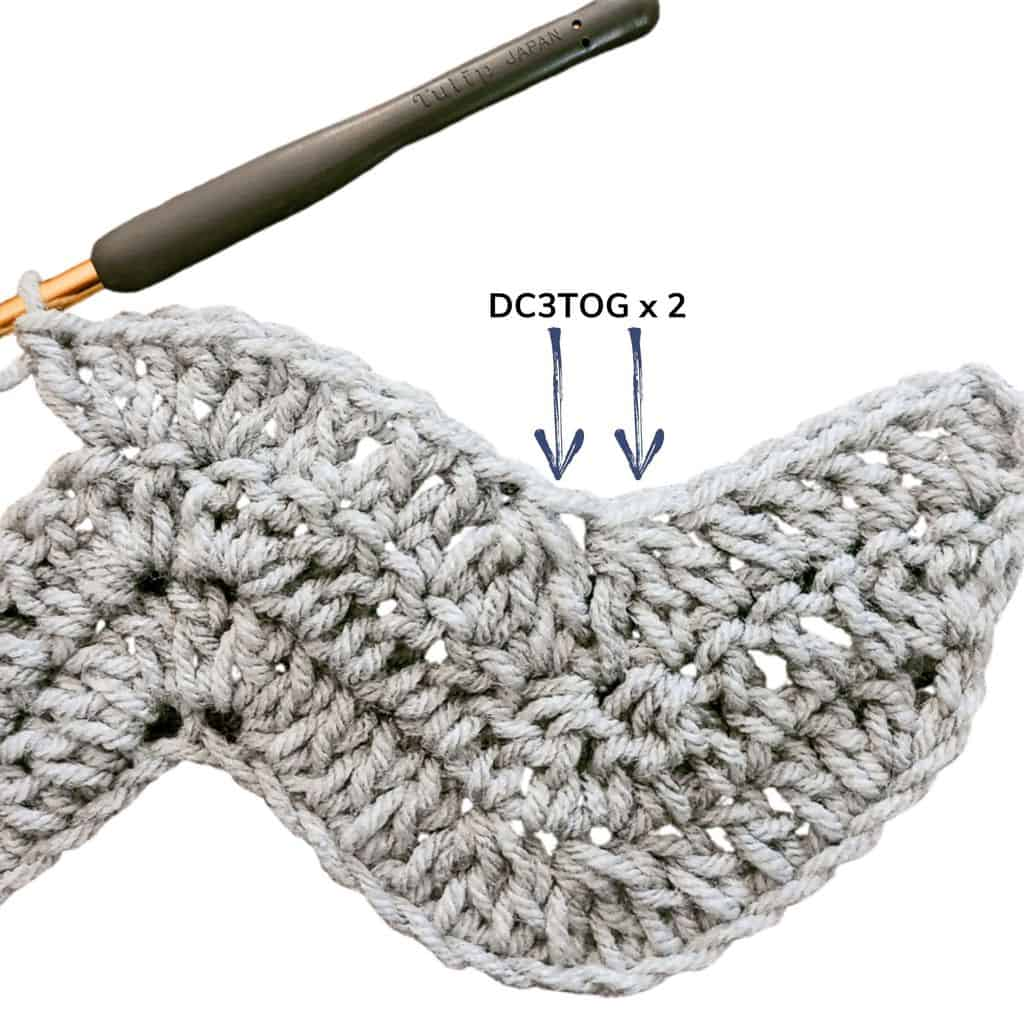 double crochet three together
