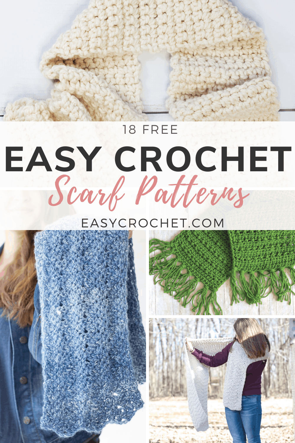 Easy to Crochet Scarf Patterns that are all FREE crochet patterns. via @easycrochetcom