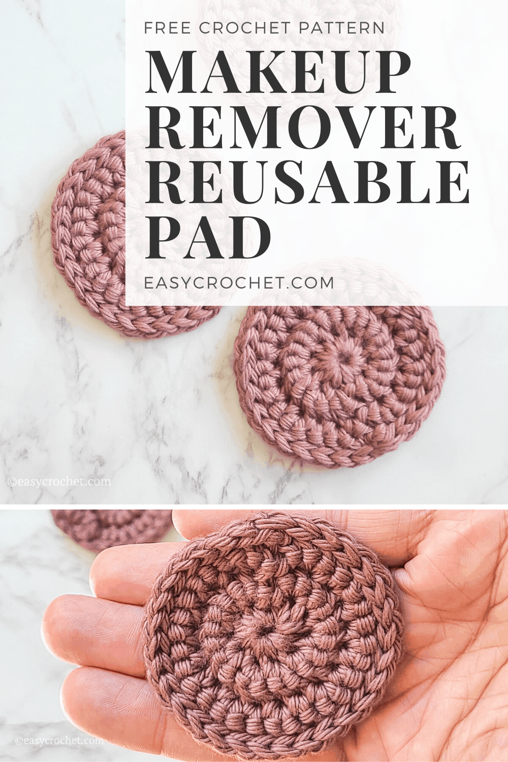 Easy to Crochet Makeup Remover Reusable Pads. Crochet this washable, dryable and great for the environment crochet pattern today! Find it at easycrochet.com via @easycrochetcom