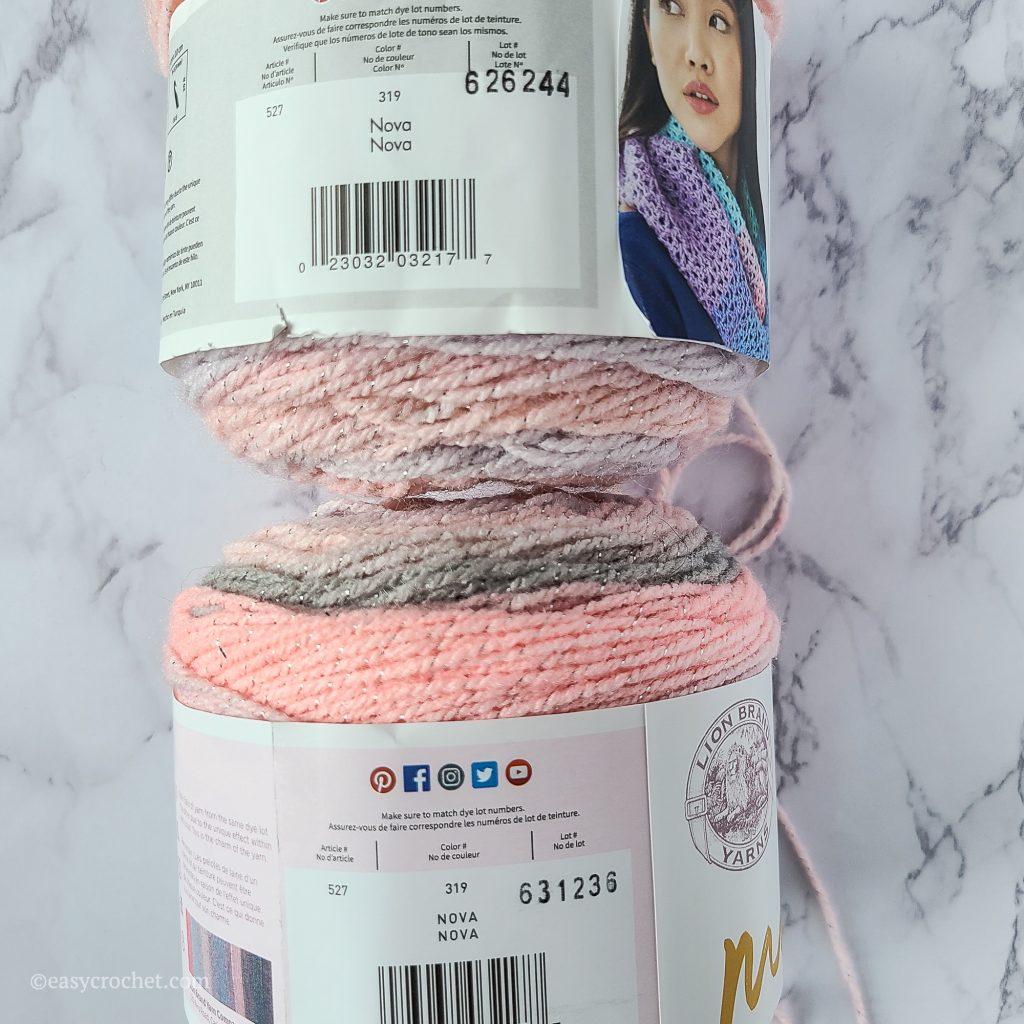 Dye lot number comparison yarn