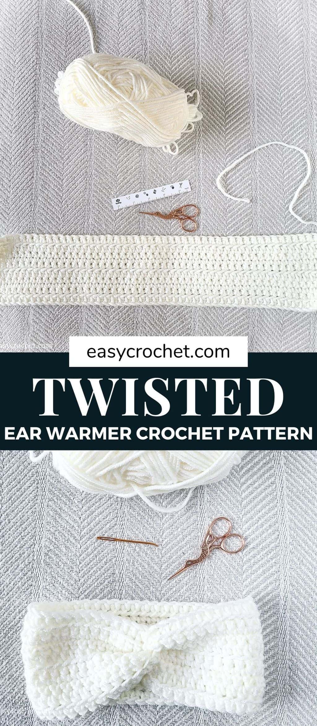 twisted ear warmer pattern via @easycrochetcom