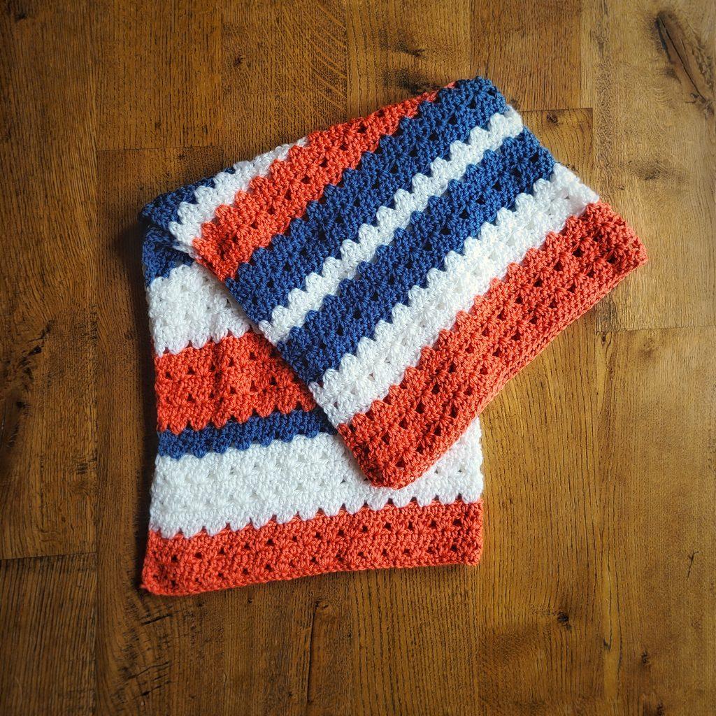 striped crochet baby blanket pattern