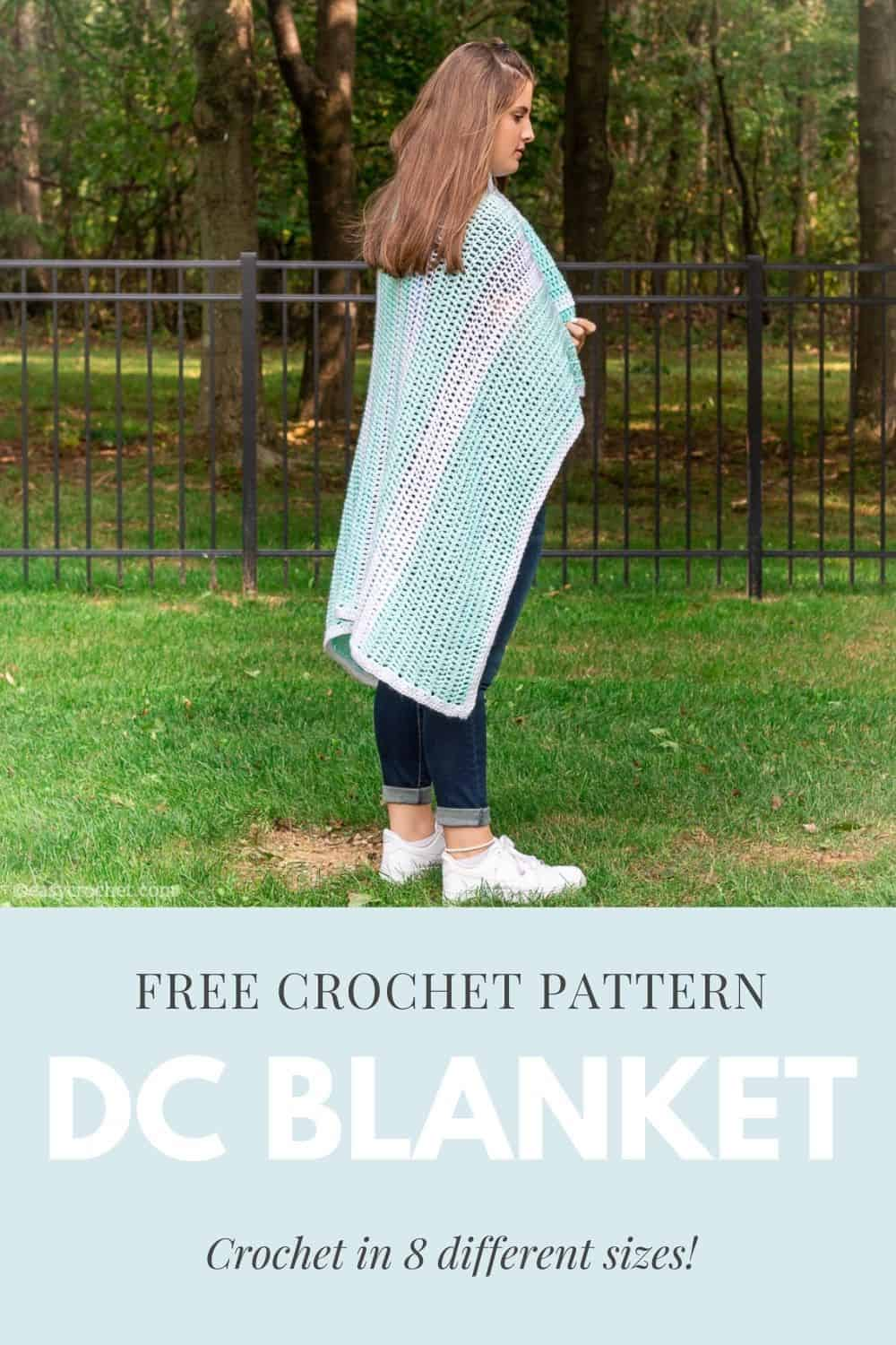 Crochet this quick & easy double crochet blanket pattern using medium weight yarn! Pattern includes eight different sizes and works up fast! Free from easycrochet.com via @easycrochetcom