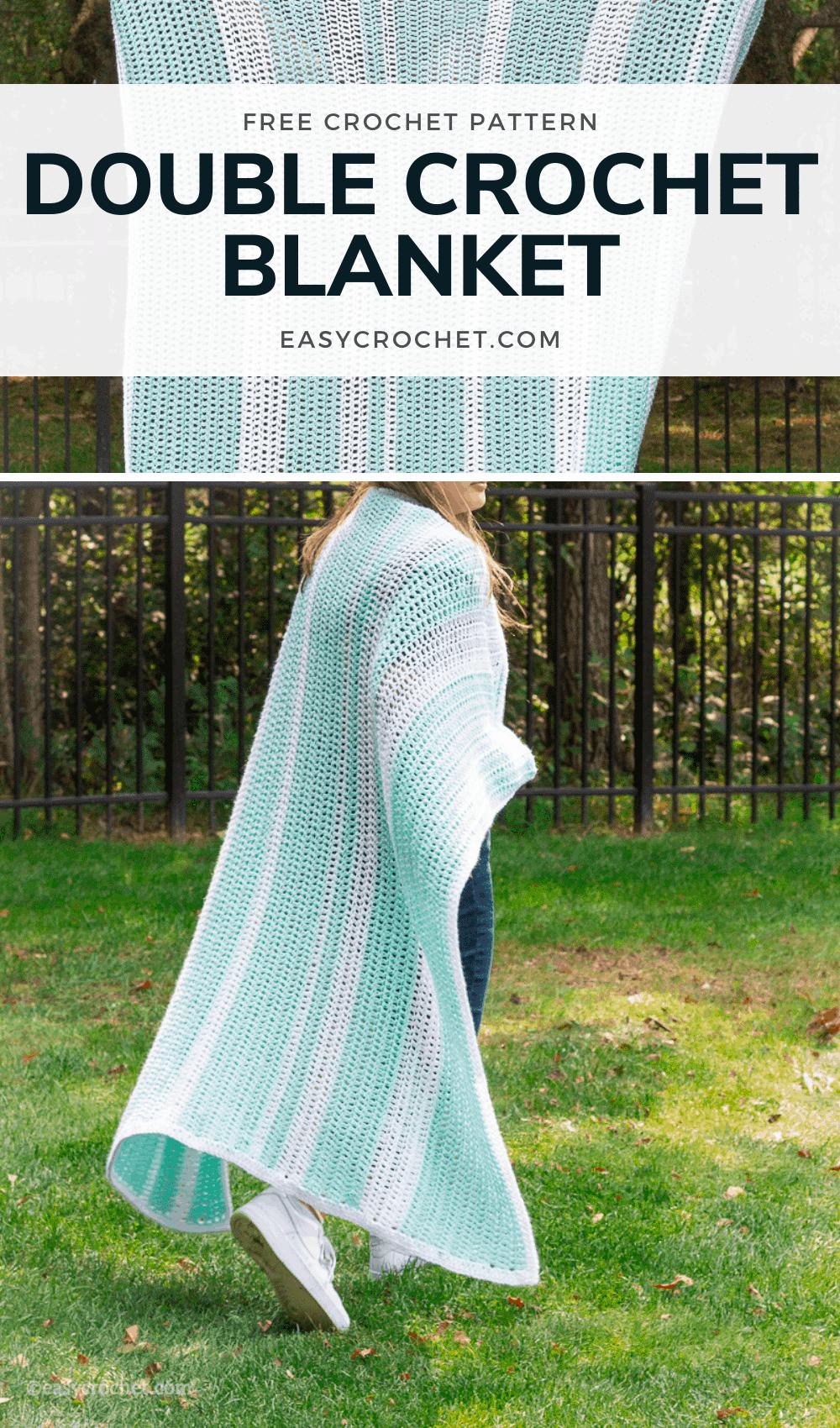 Free Double Crochet Blanket Pattern using Medium Weight Yarn