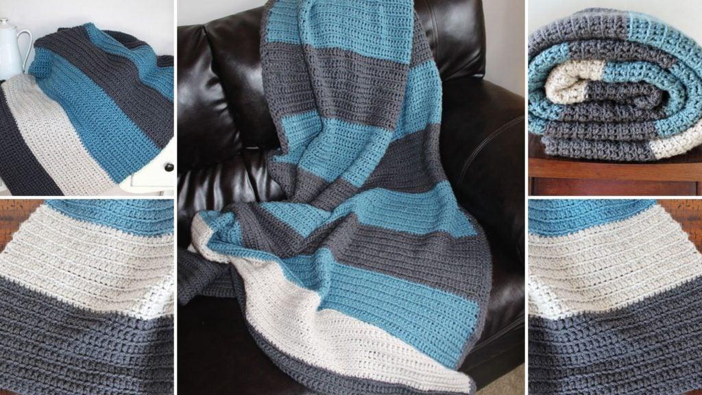 Color Blocked Stripes Crochet Blanket Pattern Easy Crochet