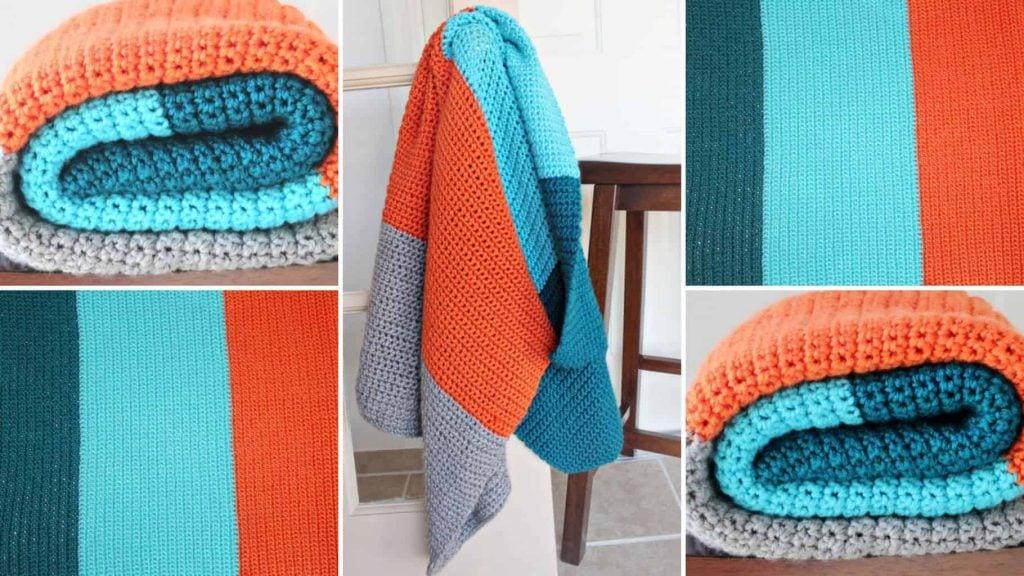 Color Blocked Crochet Blanket Pattern