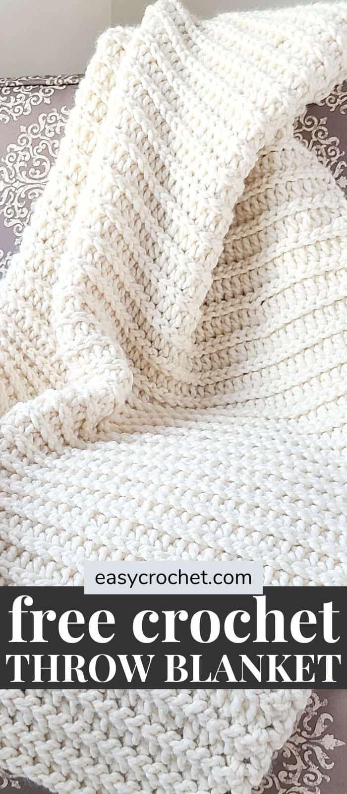 Free Crochet Throw Blanket that is easy to crochet and uses only two beginner-friendly stitches. via @easycrochetcom