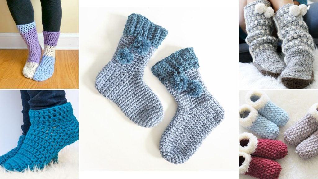 free slipper socks crochet patterns