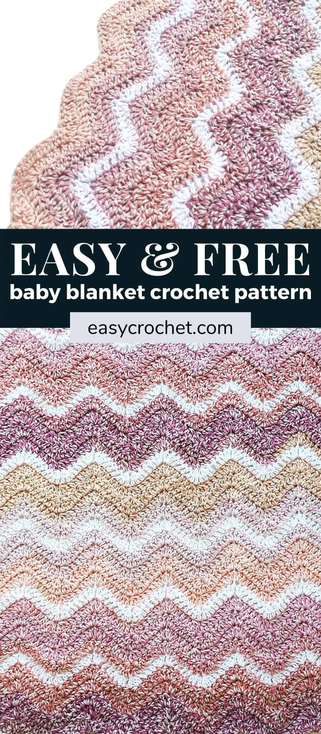 Learn how to crochet this ripple crochet baby blanket pattern with our free pattern! via @easycrochetcom