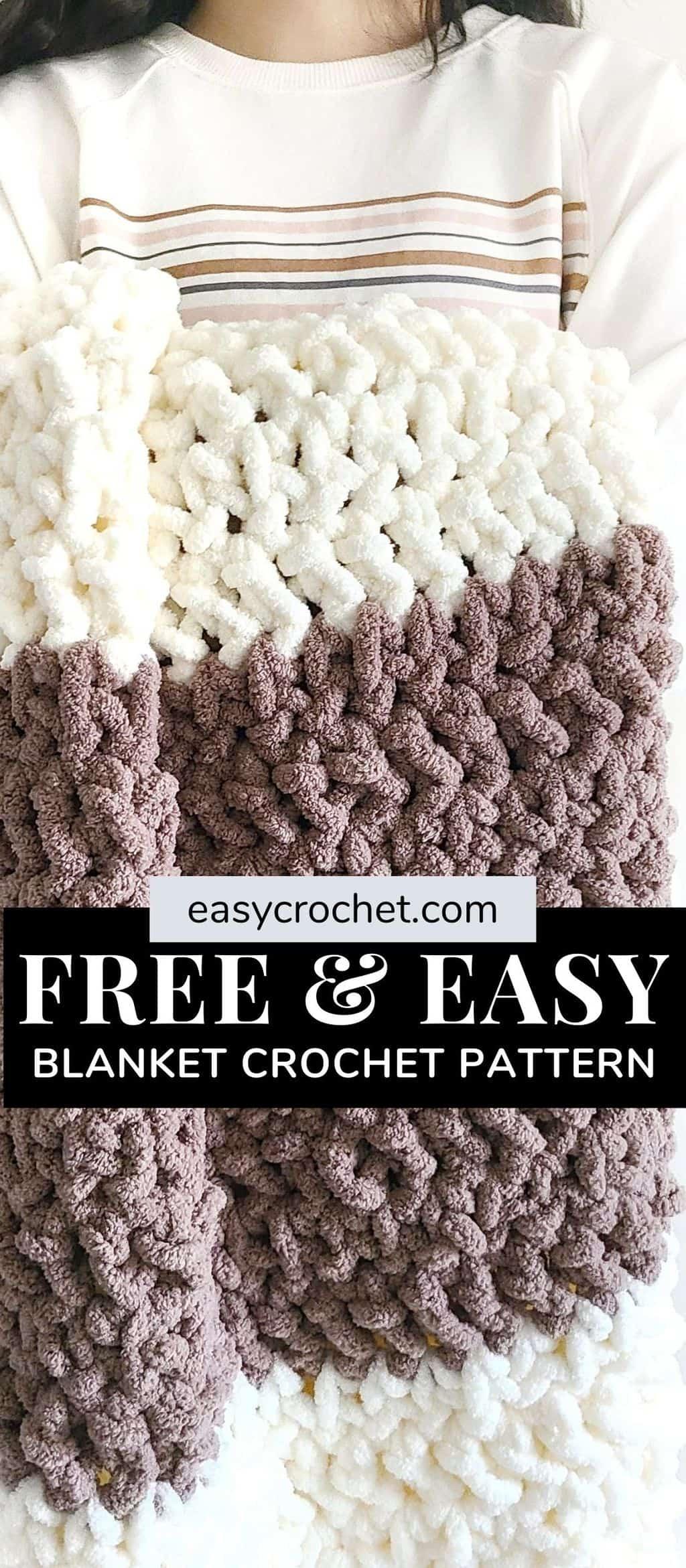 Free Jumbo Yarn Crochet Blanket pattern using Bernat Blanket Extra Yarn via @easycrochetcom