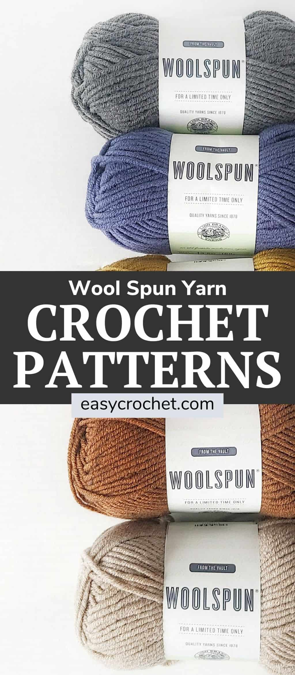 7 Free Crochet Patterns using WoolSpun Yarn via @easycrochetcom