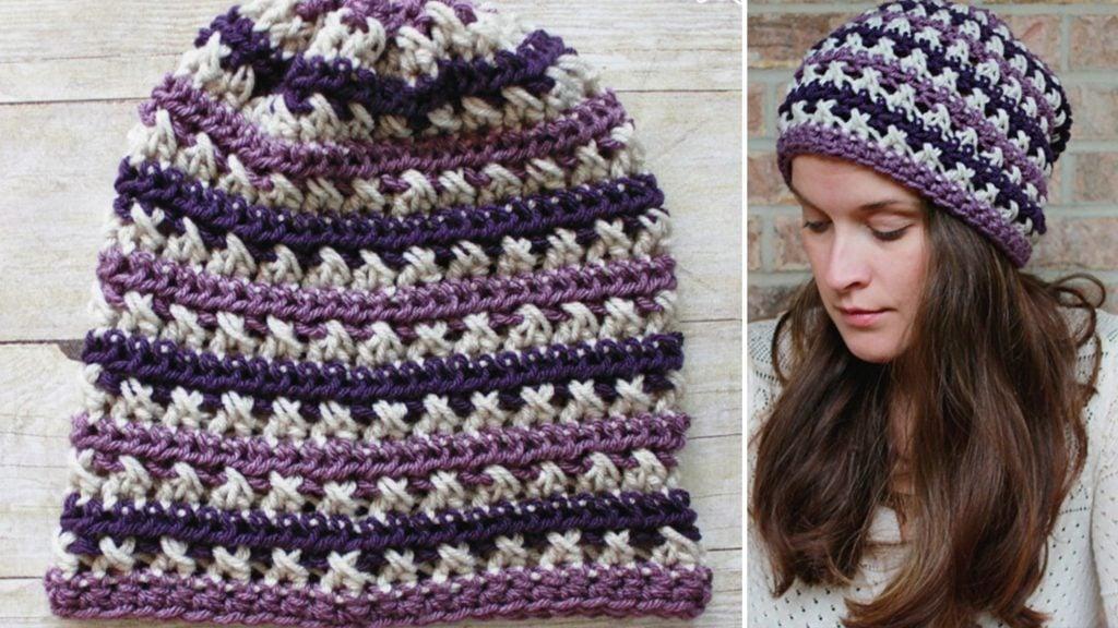 crochet slouchy beanie hat purple