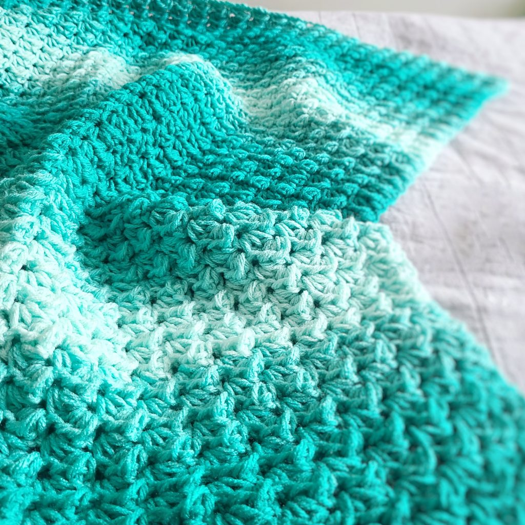 up close view of a classic crochet blanket