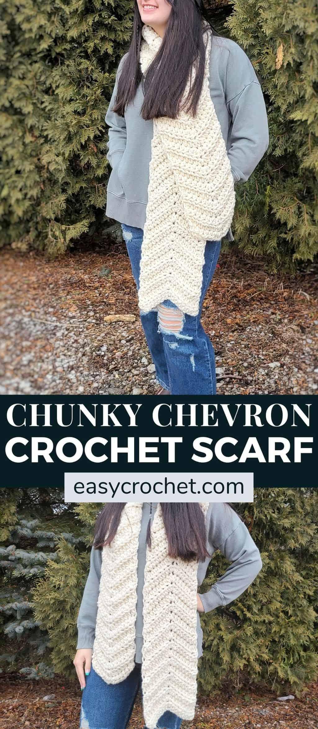Chunky chevron crochet scarf