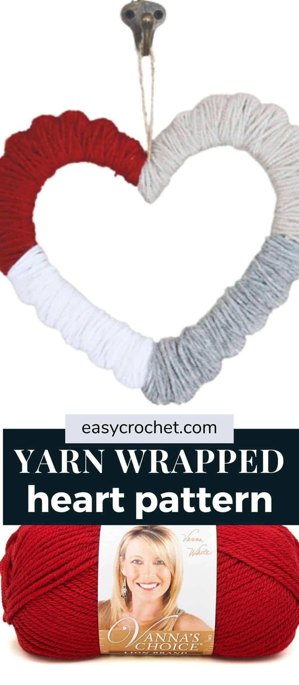 yarn heart wrapped pattern