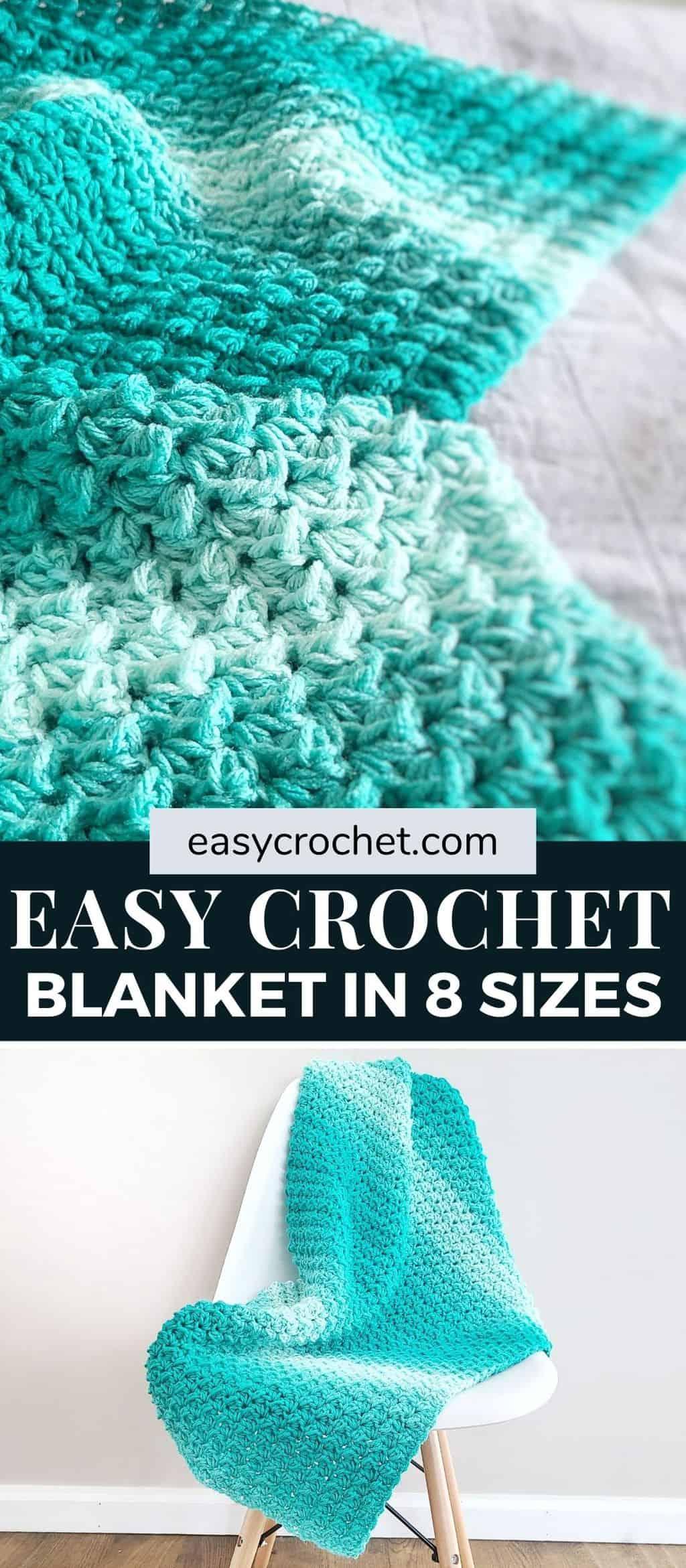 Learn how to crochet this classic crochet blanket pattern in eight different sizes! via @easycrochetcom