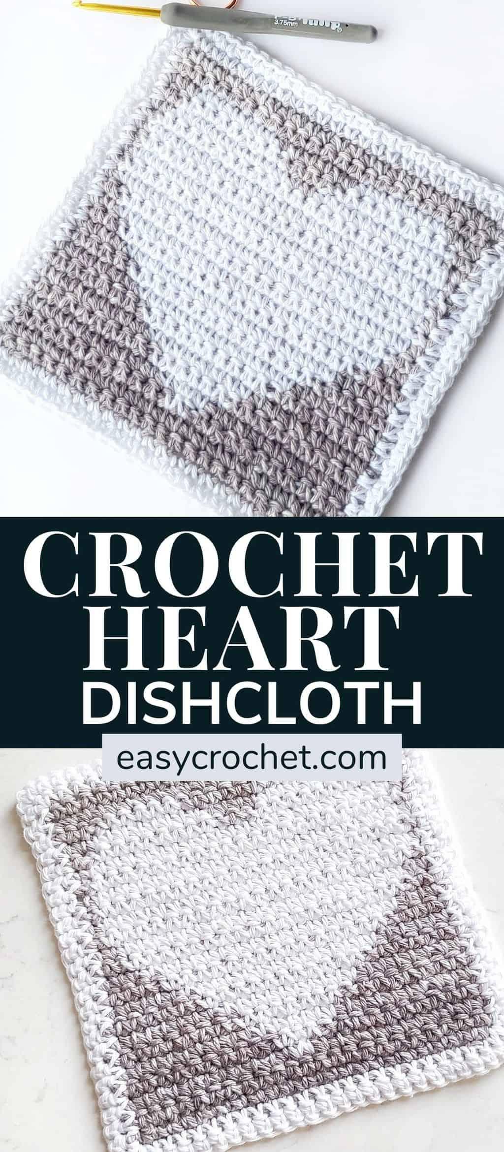 Crochet Heart Dishcloth Pattern via @easycrochetcom