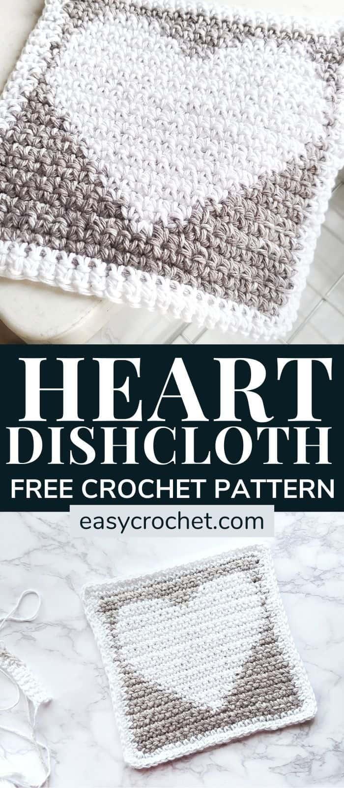 heart graph crochet dishcloth pattern via @easycrochetcom