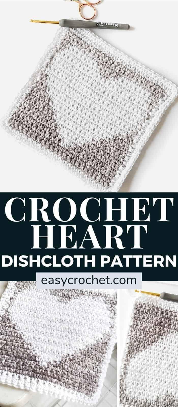 Free and Easy Crochet Heart Dishcloth Pattern