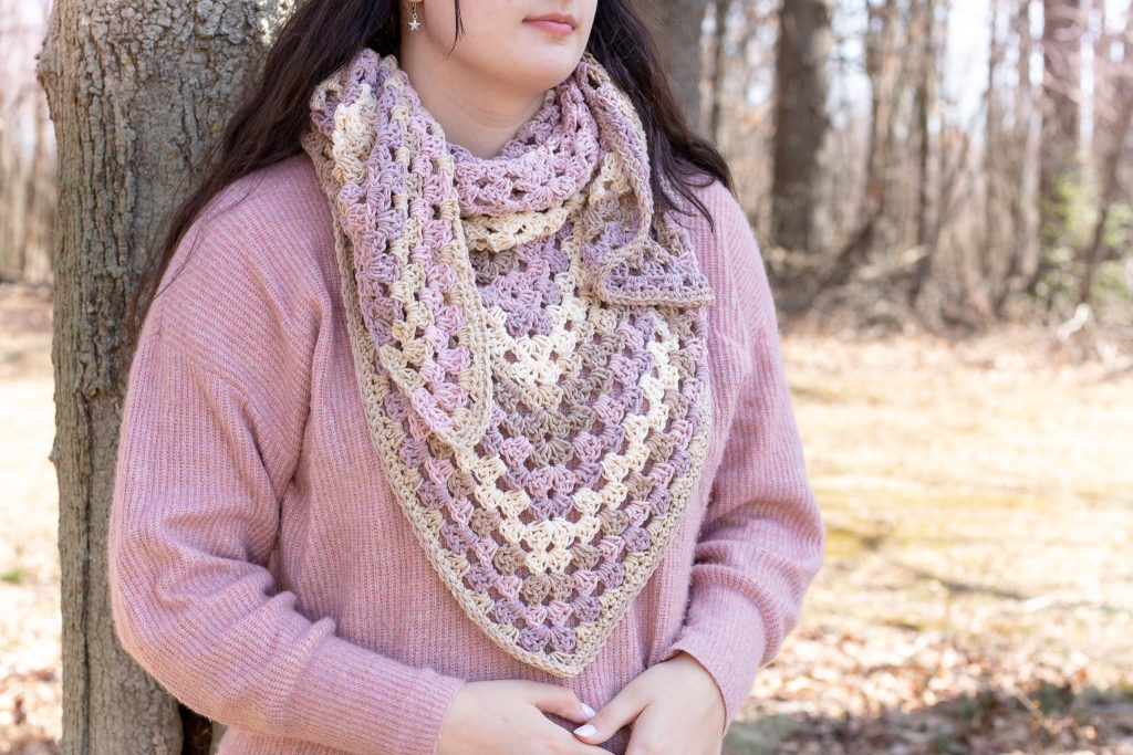 free crochet shawl pattern in Spring colors