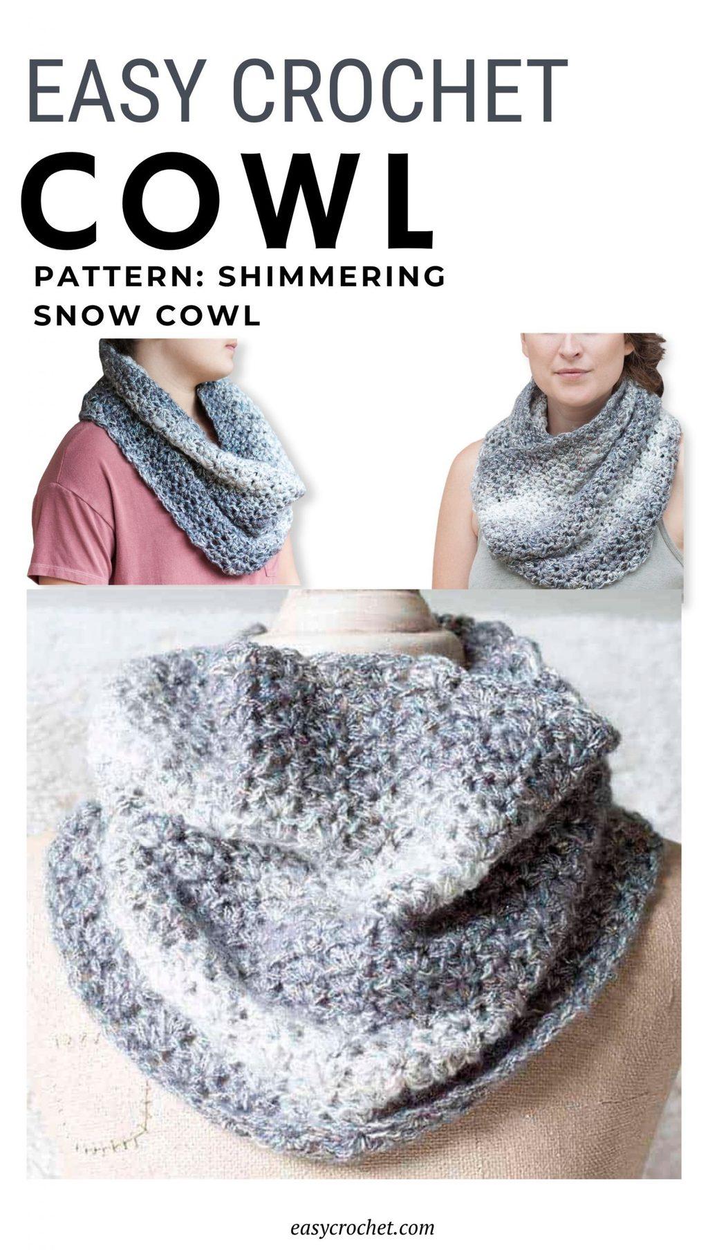 sparkly yarn crochet cowl pattern