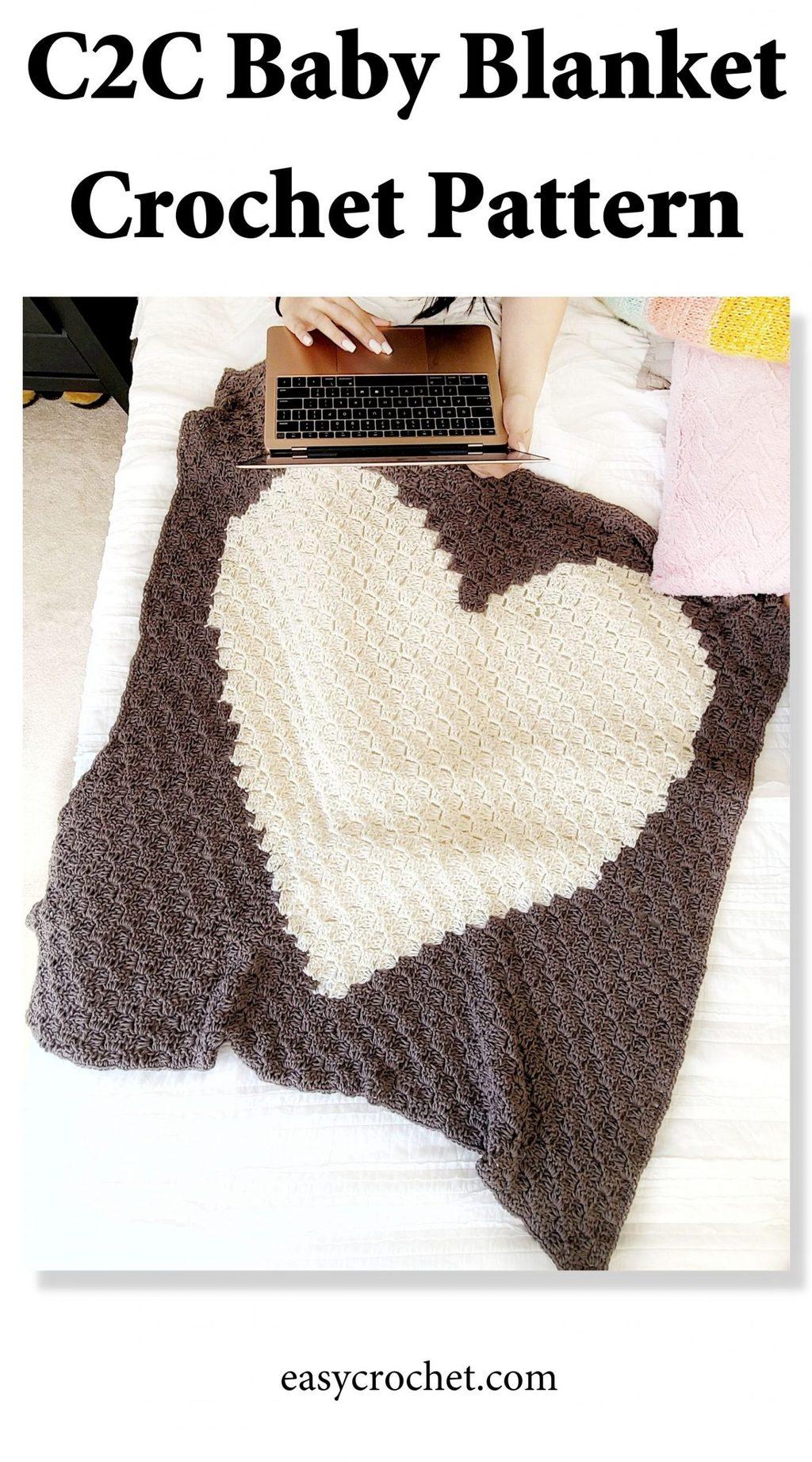 Heart Corner to Corner Baby Blanket Pattern