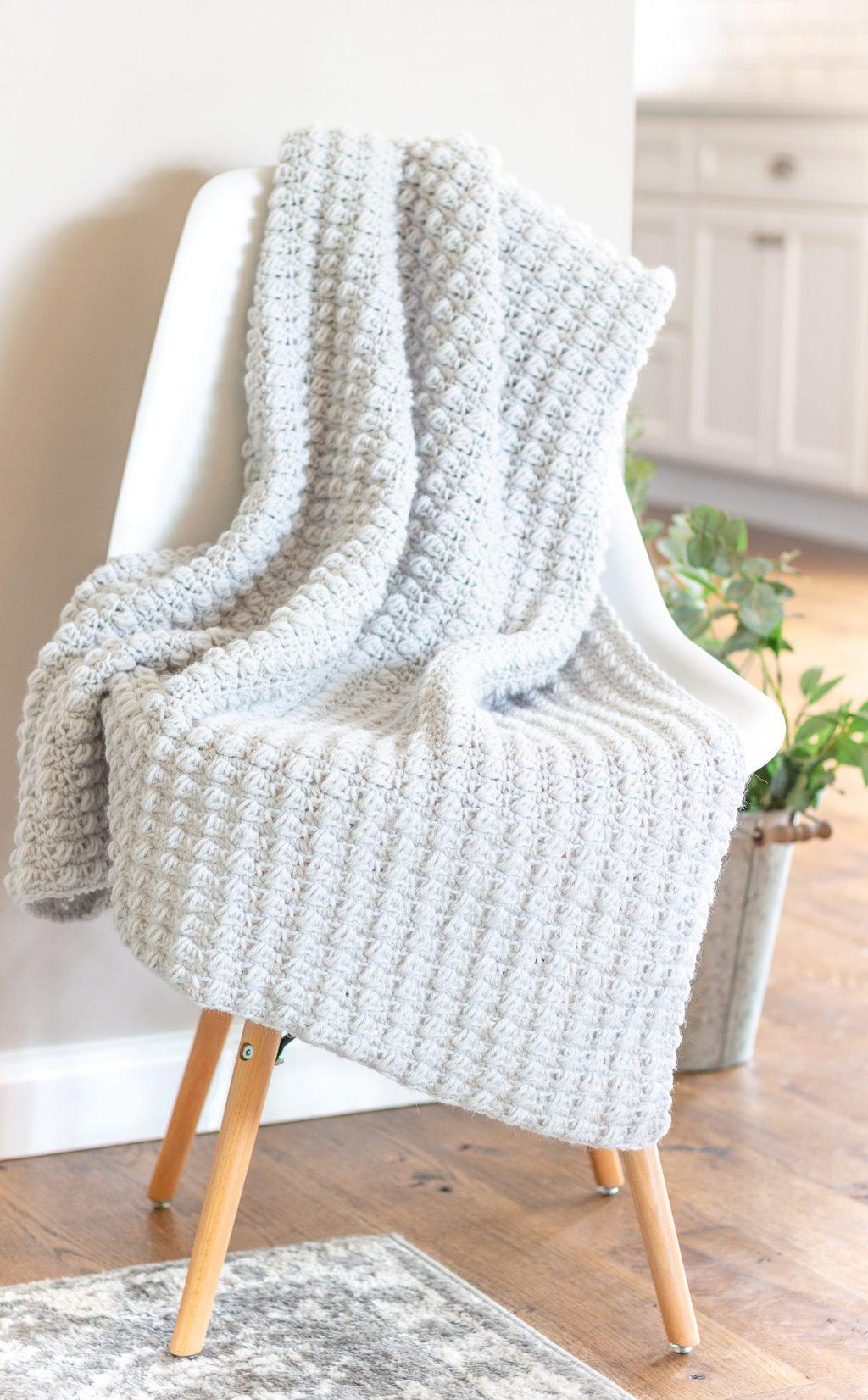 easy to crochet puff stitch blanket