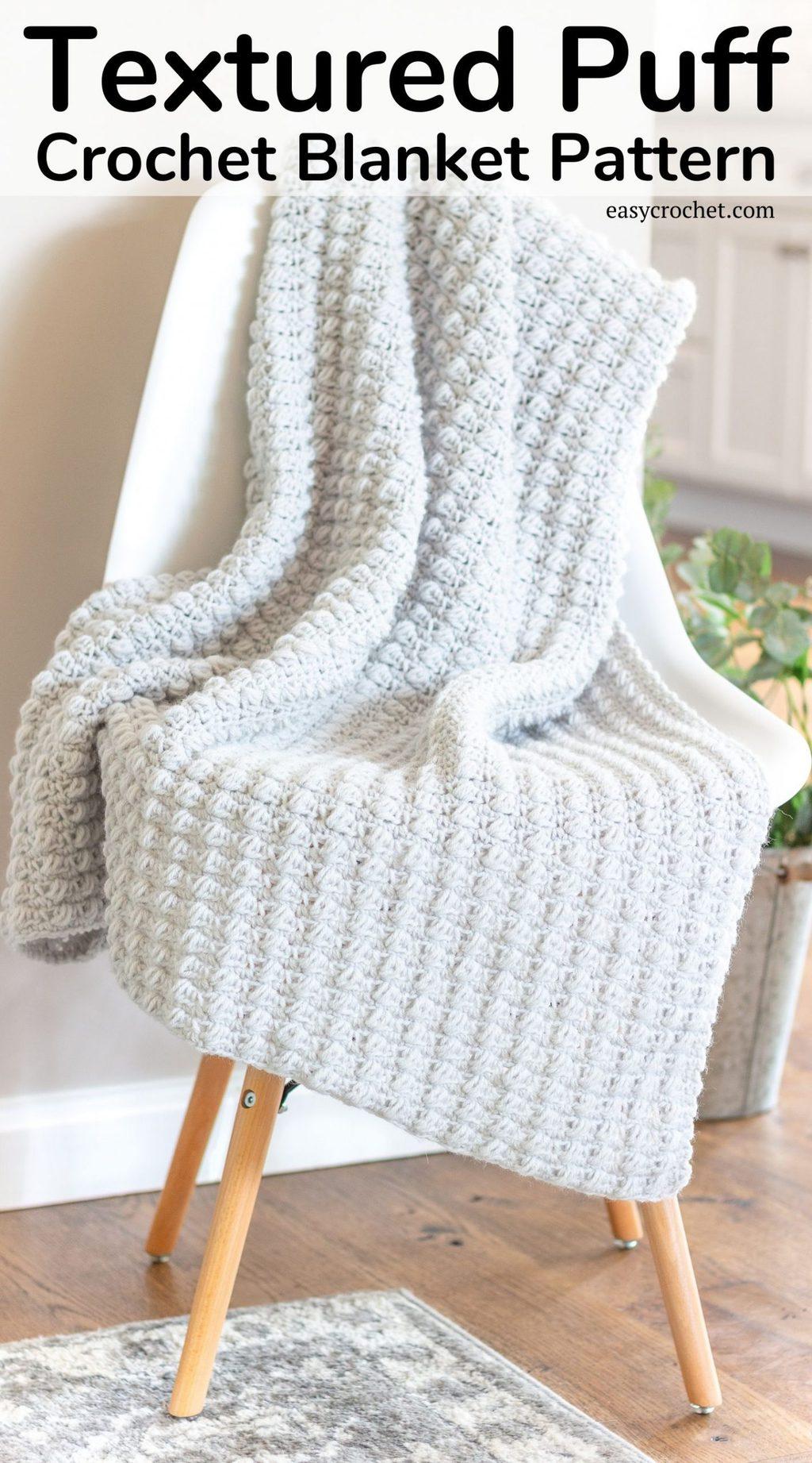 Textured puff stitch crochet throw blanket