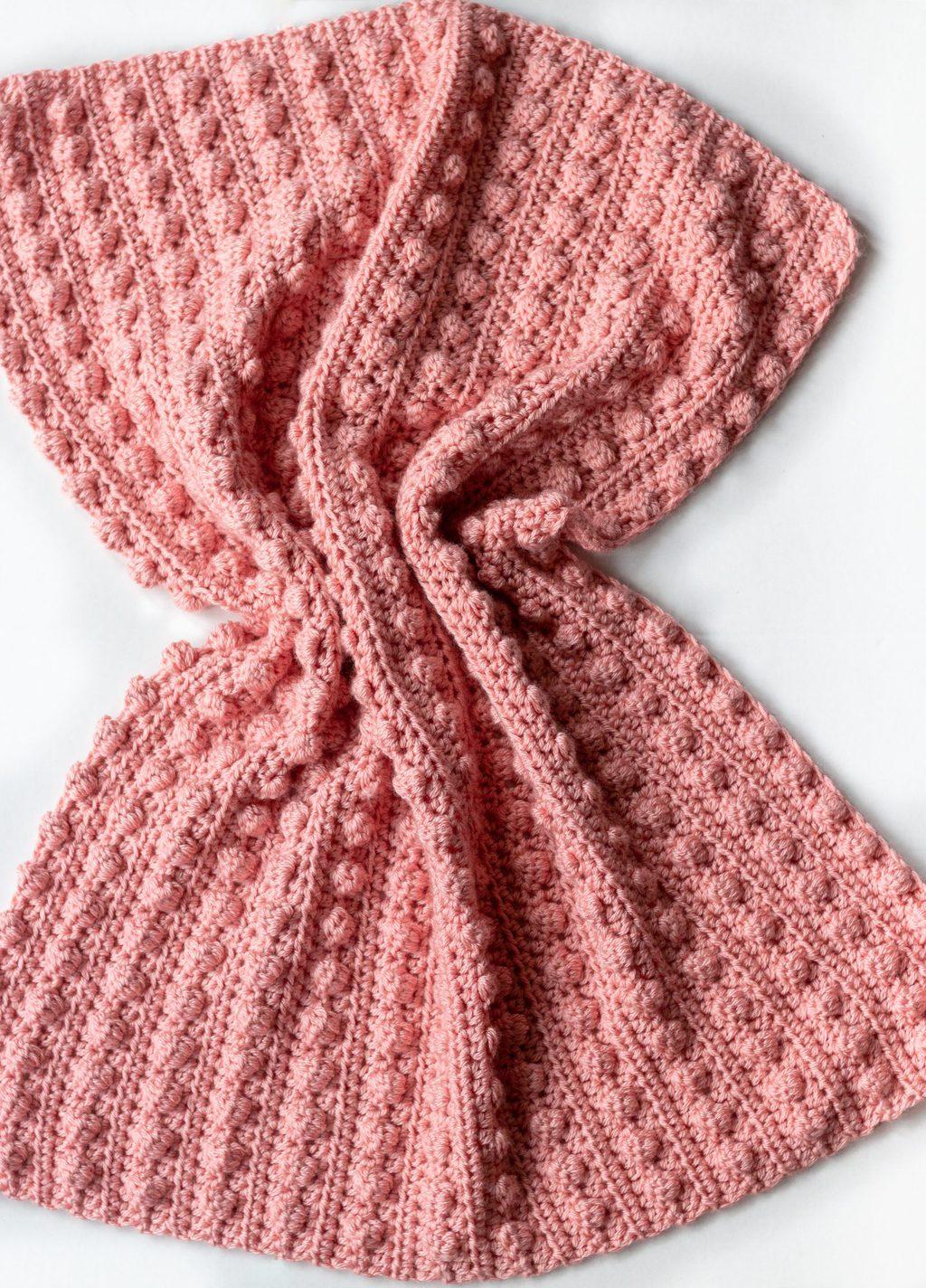 motif de couverture pour bébé au crochet au point de pompon